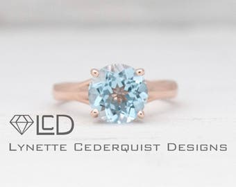 9mm Round Sky Blue Topaz Solitaire Engagement Ring LCDS018