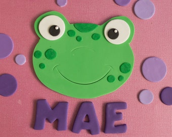 Fondant Frog, Polka Dots, Name and Age Cake Decorations