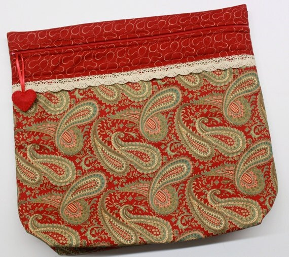 MORE2LUV Deep Red Paisley Cross Stitch Embroidery Project Bag
