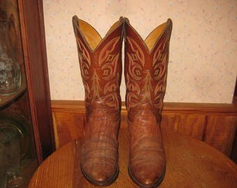 Justin      Made In USA      Exotic  Leather    Cowboy  Boots     Mens  10  D