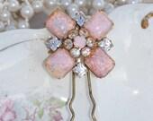 Gorgeous Vintage Fire Opal Crystal Hair Fork,Crystal Gold Hair Pin,Bridal,Blush Pink Weddings,Rhinestone Hair Fork,Harlequin Opal,Bride,Gift