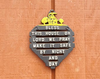 """Small metal home blessing or footed trivet , 6 1/4"""" x 4.5"""". .Ready to hang.Home decor.Gift idea."""