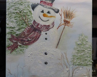 Snowman Painting in Oils