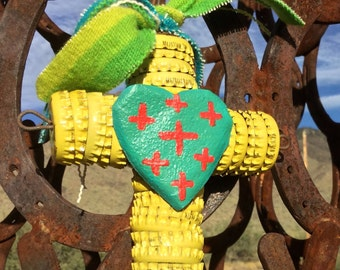Bottle Cap Cross - Folk Art / Turquoise Heart  - Christmas Ornament - Vintage Wool Serape Ribbon -  Original Cathy DeLeRee