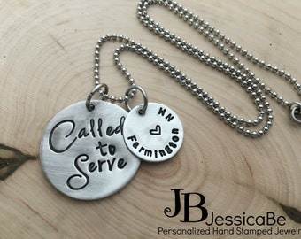 Missionary Necklace ~ Missionary ~ Called To Serve Necklace ~ Hand Stamped ~ Mission Necklace ~ JessicaBe ~ LDS Missionary ~ Missionary Mom