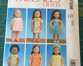 McCall's Pattern 7336 for 18 Inch Dolls Will Fit Dolls Like American Girl New and Uncut