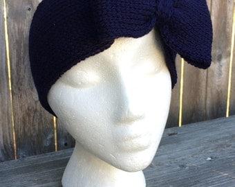 Cheerleading Bows, Knit Bow Headband, Adult Headband, Knit Headband with Bow, Navy
