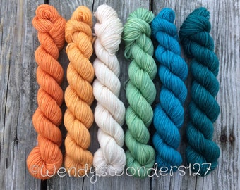 Hand Dyed Yarn,  Mini Gradients Sets,  Mini Skeins, 600 yards, SW Merino, Tonal, Semi Solid coloring