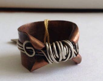 Elven thumb ring, copper and silvervwrappedcwire band, mystical ring, lord of the rings,