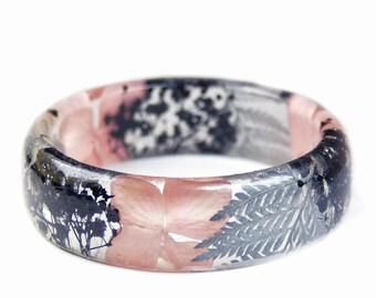 Silver Bracelet -Real Flower Jewelry- Flower Jewelry- Jewelry with Real Flowers- Pink Flowers- Black Bracelet -Resin Jewelry- Pink Bracelet