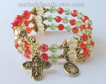 Rosary Bracelet • Rosary Wrap Bracelet • Catholic Jewelry • Catholic Bracelet • Mother's Day Gift • Godmother Gift • ourladybeads • #565