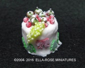12th scale miniature White Iced Frosted Berries Cake