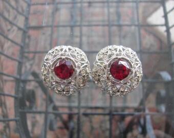 Rhinestone Clip Earrings, Ruby Red Stone, Silver Filigree with  Clear Rhinestones, 1 1/8