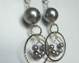 Gray Pearl Glass Bead Hoop Earrings, Hoop Earrings, Gray Earrings, Boho Earrings, Boho Jewelry, Mango Tease, FREE US SHIPPING