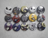 15 Nightmare Before Christmas Jack Inspired Character Pinback Button Shower Goody Gift Treat  Party Favors Brooches