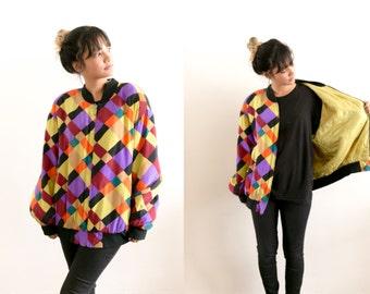 Vintage Color Block Jacket / Silk Bomber Jacket / Silk Jacket / 80s Retro Multicolor Bright Neon 90s Grunge Zip Up Oversized Unisex Slouchy
