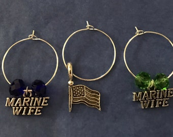 Marine wife wine glass charms for the wine lover in your life.... customize