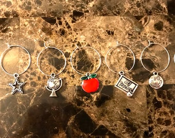 Set of 7 teacher wine glass charms star, apple, ruler, book and smiley face, globe,  - personalize it