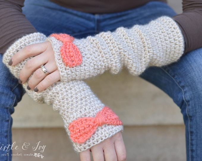 Dainty Bow Arm Warmers Crochet Pattern PDF PATTERN