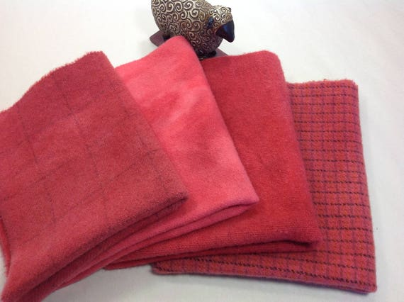 Watermelon Reds, 4) Fat 1/8ths, Hand Dyed Wool Fabric,  W329, Cheerful Red, Deep Coral Red