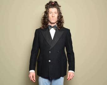 mens vintage tuxedo jacket 30s 40s mens tux jacket 1930 1940 menswear double breast peak lapel 39S 39 short grosgrain lapel