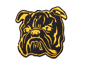 "vintage 40s Bulldog patch sewn on patch 6""x6"" Georgia black gold bull dog varsity athletic patch vintage large patch"