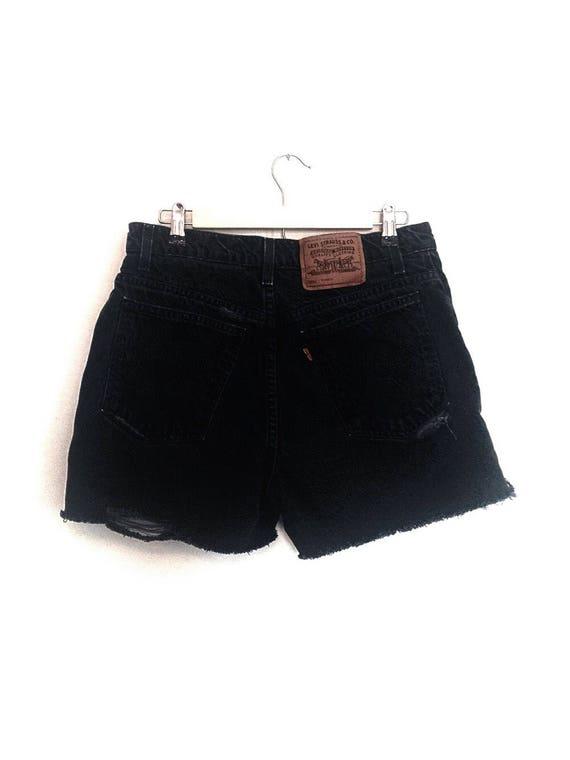 Vintage Distressed Black Levi's Jean Shorts // Levi's
