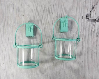 Wall candle holders, glass and metal candle holders, distressed turquoise, hand painted, shabby chic