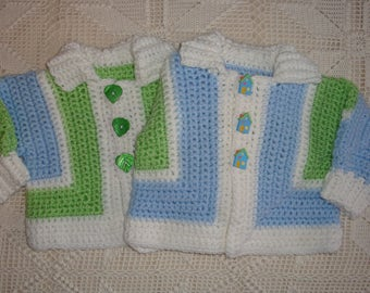 3-6 month Crochet Lime, Light Blue and White Collared Cardigan Sweater with Decorative Buttons