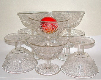 8 Glass Dessert Cups Crackle Texture Small Bowls Vintage Glass Pedestal Base Many Uses: Fruit Ice Cream Small Salad Beverage etc.