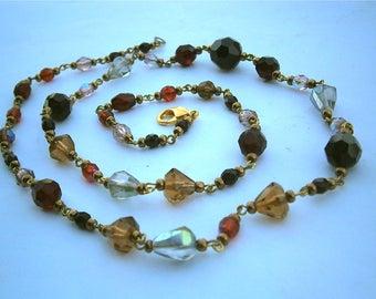 Vintage Garnet Czech Necklace Red Crystal Glass Beads Stones Aurora Borealis Rondelle Gold Tone 26 Inch Boho Bohemian Art Deco Victorian