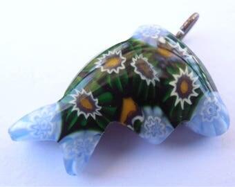 Vintage Blue Green Fish Pendant Murano Crystal Italian Glass Pendant Sunflower Cornflower Necklace Bracelet Ocean Marine Star Sun Burst Art