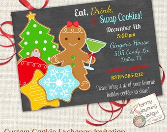 Christmas Cookie Exchange Invitation, Customized Cookie Swap Invite, Digital You Print Holiday cookie party invite, Eat, Drink, Swap Cookies