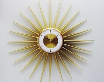 Mid Century Starburst Clock from Welby, Atomic Era Sunburst Clock 1960s