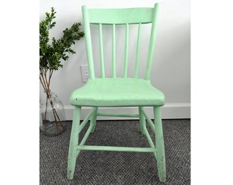 Vintage Wood Spindle Chair - Mint Green