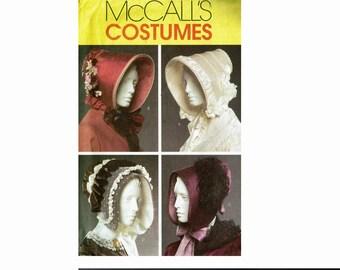 Bonnets Sewing Pattern Uncut McCalls Costumes 5129 OOP 4 Bonnets in 3 Sizes Civil War Ladies Hats Sun Bonnet