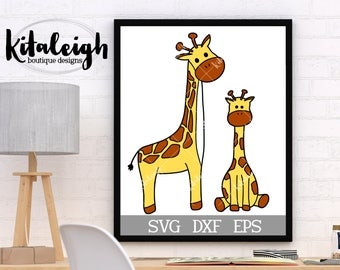 Giraffe Mom and Baby INSTANT DOWNLOAD in dxf, svg, eps for use with programs such as Silhouette Studio and Cricut Design Space