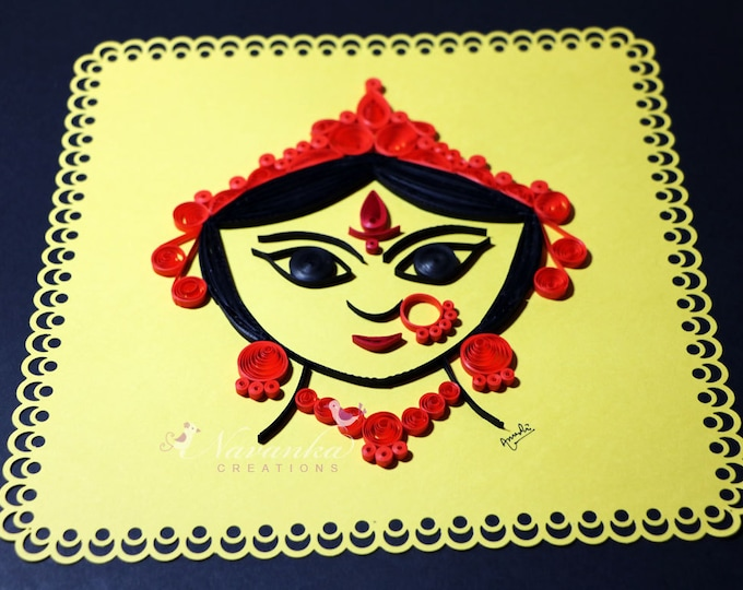 Indian Godess Durga  Paper Quilling Wall Art , Divine Mother, Durga Puja Gift, Indian festival gift Made to order