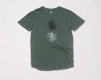 The Hiking Tee, Gym Tee, Gift for a Guy, Outdoor Shirt, Camping Shirt, Tree Design, S,M,L,XL,XXL