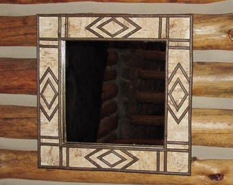 Birch and Twig Mirror With Diamond Design