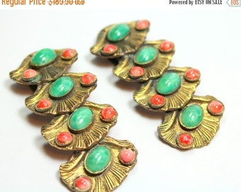 MASSIVE CLEARANCE Very Rare Pair Of Vintage Art Deco Brass Metal Pink and Green Peking Class Clam Shell Design Dress Fur Clips