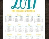 2017 Year At A Glance Teal and Yellow 8x10 Printable Single Page Calendar