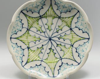 Small Wheel Thrown Handmade Ceramic Dessert Plate with Navy, Kiwi and Turquoise Pattern