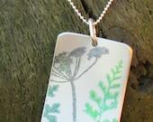 Meadow pendant, seed head, fern, cow parsley.