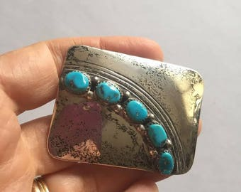Vintage Native American Sterling Silver, Turquoise Set in Sterling Belt Buckle