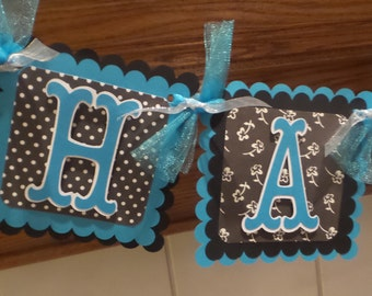Happy Sweet 16 Birthday Banner, Black and Turquoise Sweet 16 banner, Sweet 16 Decorations, Matching Tissue Pom Poms Are Available
