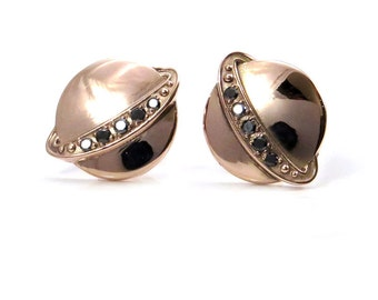 Rose Gold Saturn Post Earrings with Black Diamond Rings - Planet Galaxy Fine Jewelry