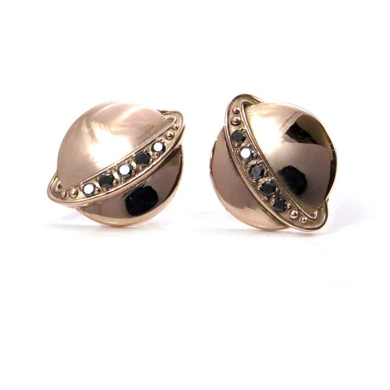 Rose Gold Saturn Post Earrings with Black Diamond Rings - Planet Galaxy Fine Jewelry - Ready to Ship