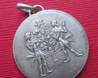 On Sale Vintage French Silver Toulouse Art Medal  Pendant By Raymond Tschudin Monnaie De Paris  SS369