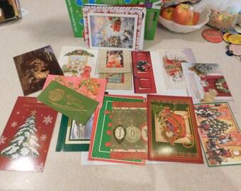 Twenty Five Vintage Christmas Cards and Eleven Envelopes   Box k